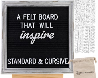 Rustic Felt Letter Board w/ Free Shipping - Handcrafted Oak Rustic Frame with Premium Felt in Black or Grey and 10x10 / 12x12 / 12x18