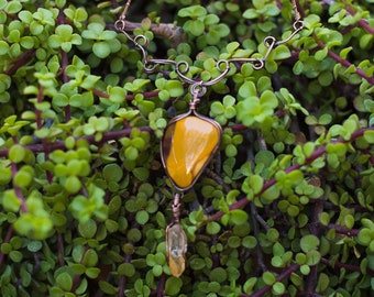Structural Yellow Mookiate and Iron-Stained Rough Quartz Antiqued Copper Wire Wrapped Pendant