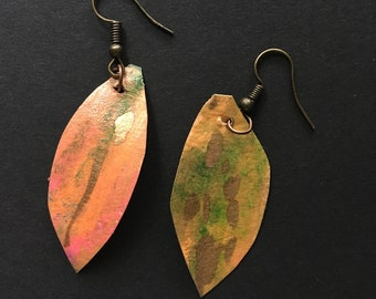 Coral colored hand painted earrings