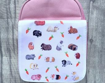 Personalised Guinea Pig Lunchbox Girls Pink School Lunch Bag Childrens KS11