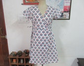 cotton wrap dress with off white colour for summer season