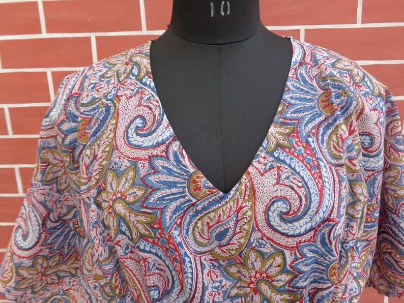 Cotton fabric block print kaftan
