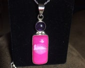 Pink Druzy and Amethyst Pendant Necklace