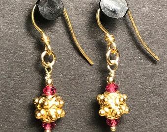 Ruby and Vermeil Earrings
