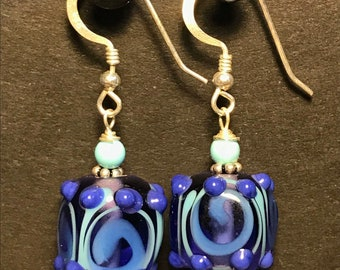 Bohemian Glass Cube Earrings