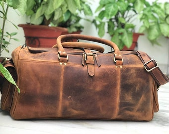 7d3ee564a6 24 inch Hunter Brown Genuine Leather Weekend Bag
