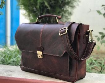 5c162da5dd Zakara 14 inch Leather Laptop Bag