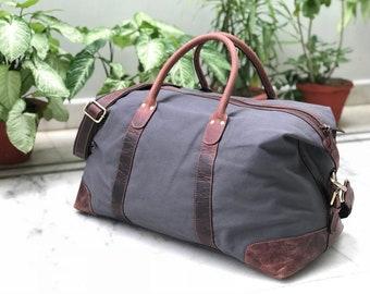 7f943d7559 Canvas Leather Travel Bag