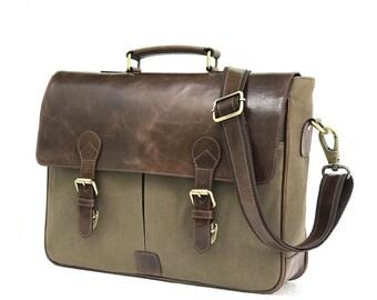 a5f5ff8ea8 Zakara 15 inch Canvas Laptop Bag Mens Laptop Messenger Bag