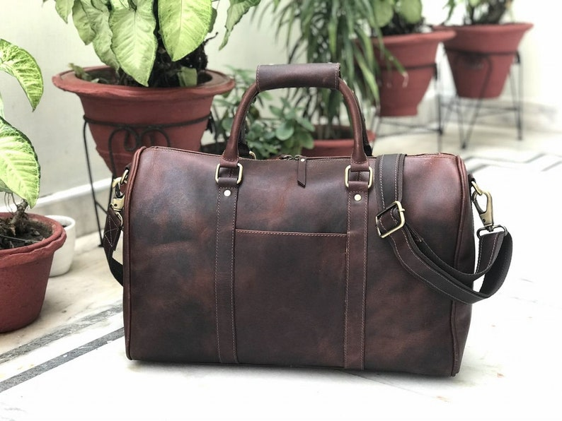 22f6b2546d4b 18 Inch Genuine Hunter Coffee Brown Leather Gym Bag Mens