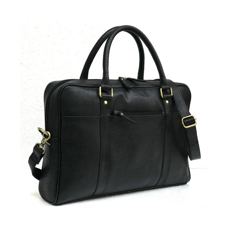d46878705c Zakara 16 Genuine Black Leather Laptop Bag Mens Laptop