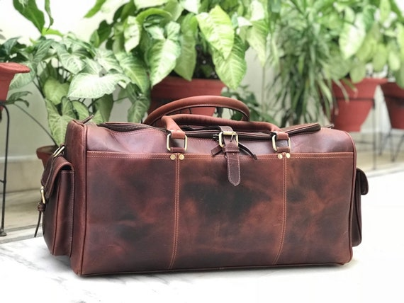 453b86232781 Zakara Genuine Hunter Chocolate Brown Leather Weekend Bag