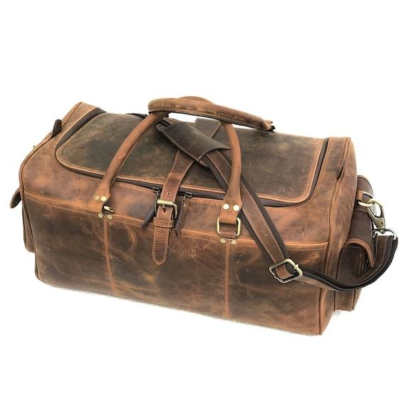bc75ae0b9ad6 Zakara Genuine Hunter Leather Weekend Bag Leather Duffle
