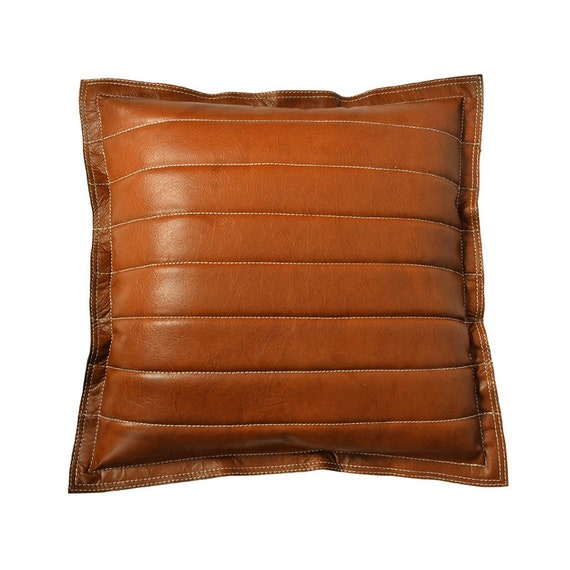 New Pillow Cushion Cover Square Shape Dark Brown Pure Soft Lambskin Leather 19