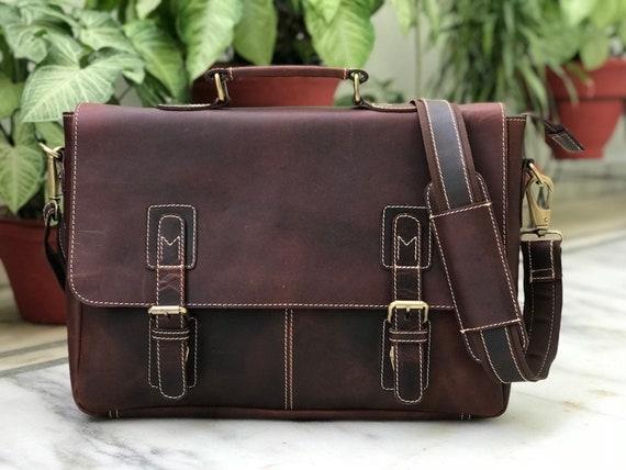 91e787c4fc Zakara Genuine Vintage Leather Portfolio Bag Leather Laptop