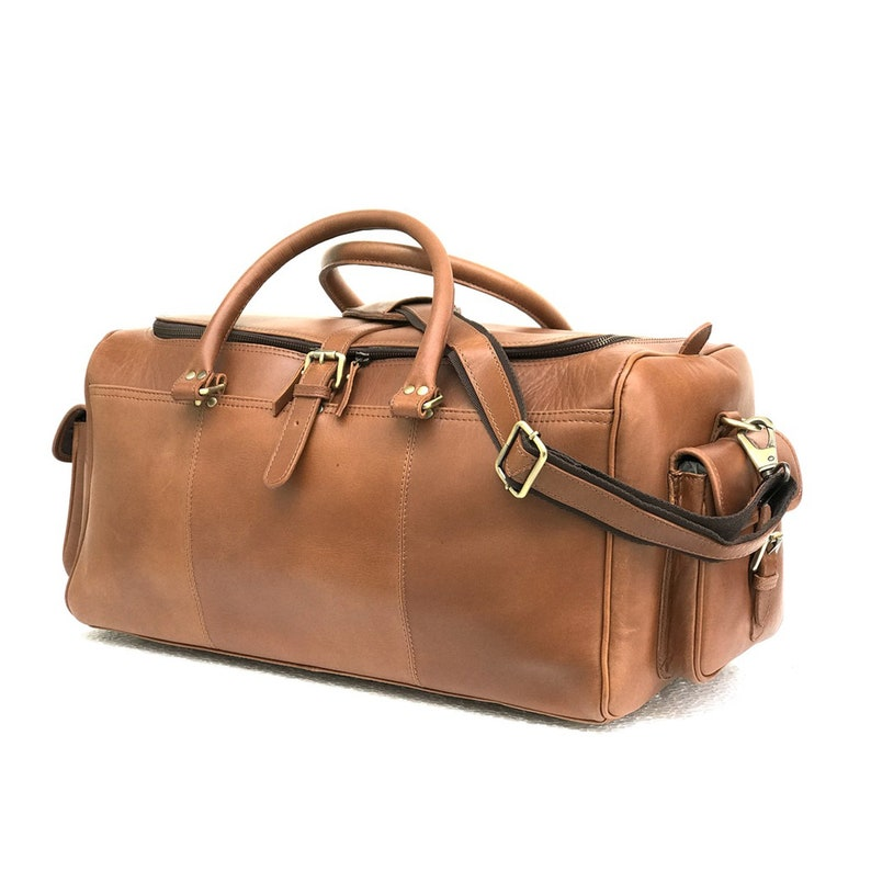 0bf08e0263 24 Inch TAN Genuine Leather Weekend Bag Handmade Unisex Carry