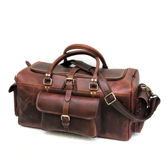 99ed6dabacf7 Zakara Genuine Buffalo Hunter Dark Brown Leather Weekend Bag