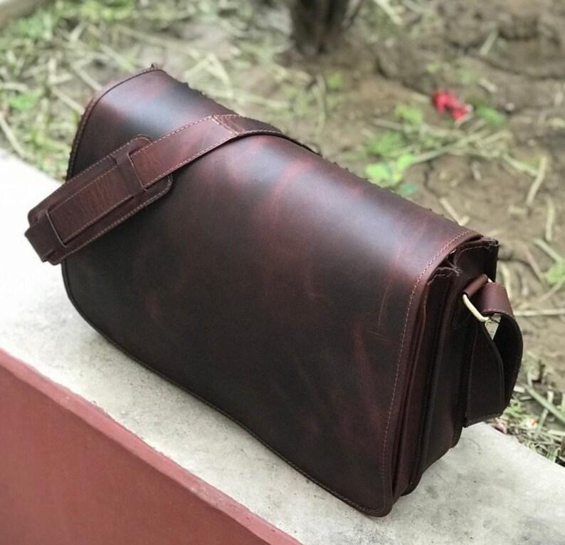Dark Brown Genuine Leather Messenger Bag Crossbody Messenger Student Bag Christmas Gift Handmade Sling Bag Gift for Him Laptop Bag