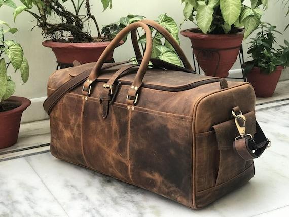 0a3e0b3a038c Zakara Genuine Hunter 24 Classic Leather Weekend Bag