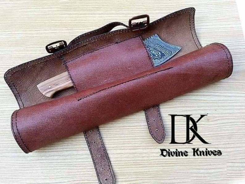 Damascus Steel Kitchen Knives Set With Beautiful Leather Roll Kit  for  Camping DK-0068