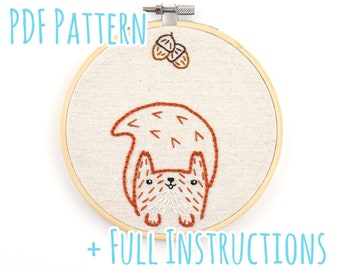Cute Squirrel Embroidery Pattern with Full Instructions - Instant PDF Download