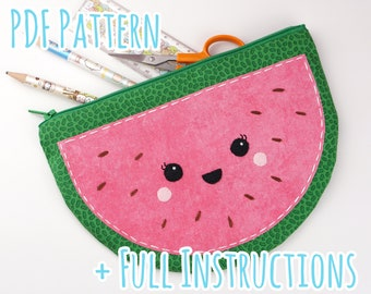 Cute Melon Pouch/Pencil Case Sewing Pattern with Full Instructions - Instant PDF Download