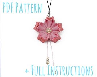 Pretty Sakura Cherry Blossom Kanzashi Tsumami Fabric Flower Bag Charm with Full Instructions - Instant PDF Download