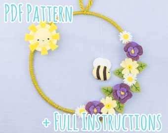 Cute Felt Spring Flower, Sun and Bee Wreath Pattern with Full Instructions - Instant PDF Download