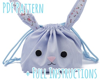 Cute Drawstring Bunny Bag Sewing Pattern with Full Instructions - Instant PDF Download