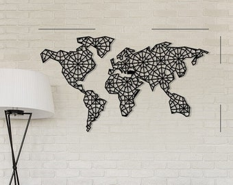 Metal world map etsy quick view metal world map geometric design gumiabroncs Image collections
