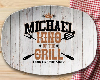 Personalized Platter, BBQ Custom Gift, Fathers Day, Gift for Dad, Papa, BBQ gift, BBQ grilling plate, Barbecue gift, King of the Grill