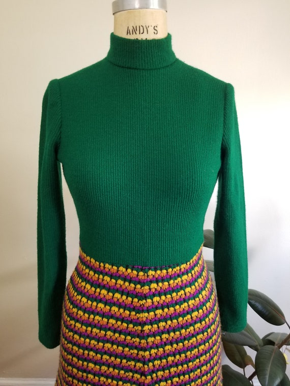 S| Green Colorful Sweater Dress Combo - image 6