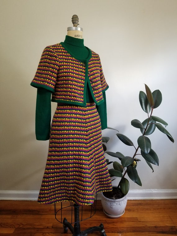 S| Green Colorful Sweater Dress Combo - image 1