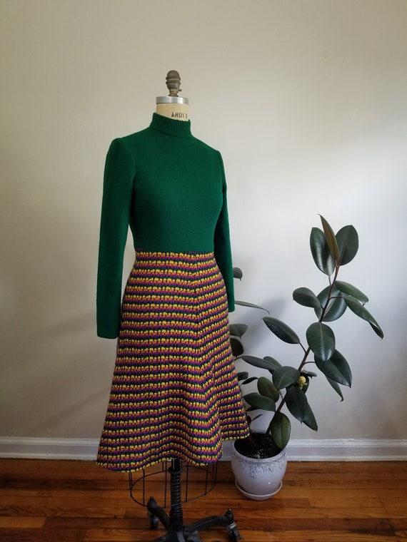 S| Green Colorful Sweater Dress Combo - image 4