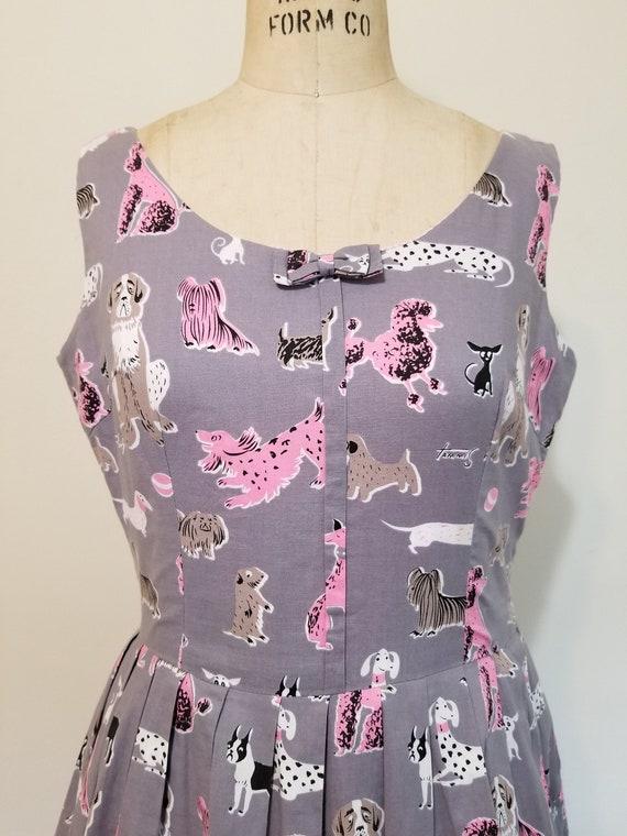 L| Tammis Keefe Dog Print Grey/Pink Dress