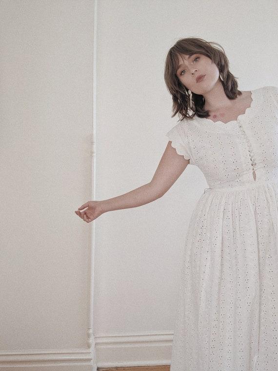 vintage 1940s white eyelet maxi dress / 40s white