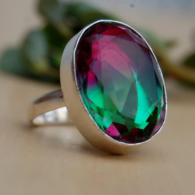 Green Pink Watermelon Tourmaline quartz Gemstone 925 Sterling Silver Ring 18K Rose Gold 18K Yellow Gold Tourmaline Ring Jewelry