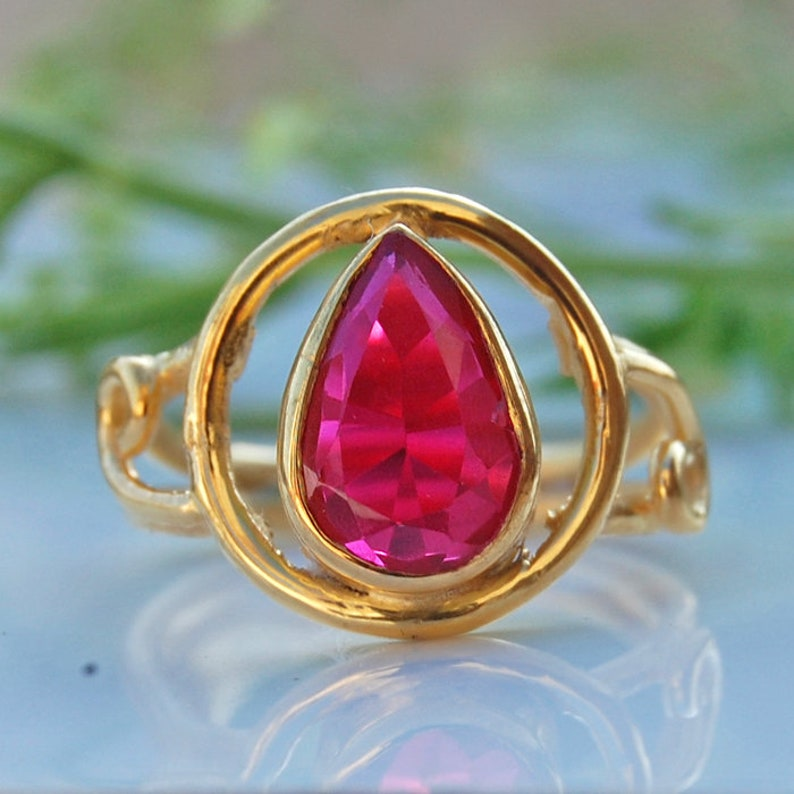 18K Yellow Gold Pear Cut Pink Ruby Ring Statement Ring Zodiac Jewelry 18K Rose Gold Pink Rubellite Ruby 925 Sterling Silver Ring