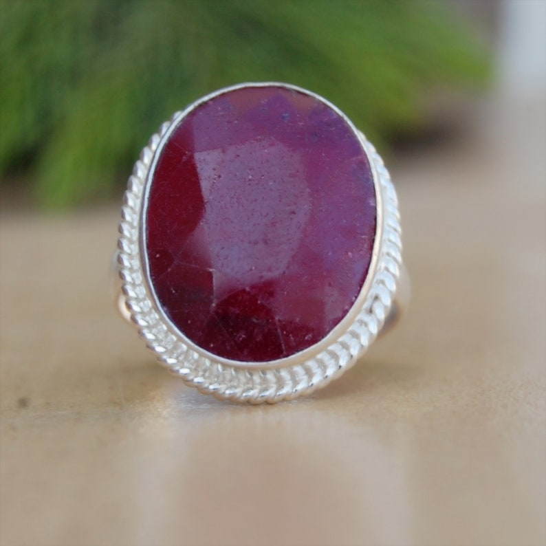 Natural Red Ruby 18K Finish Rose Gold Ring Ruby Ring Birthstone 18K  Finish Yellow Gold Sterling Silver Ring