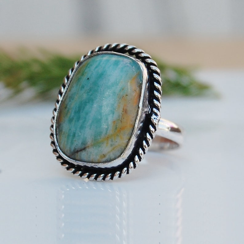 Green Chrysoprase Gemstone 18K Rose Gold Unique gift Ring Cushion Chrysoprase 925 Sterling Silver Ring 18K Yellow Gold Jewelry