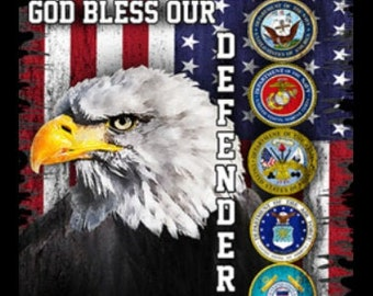 God Bless Our Defenders Military Branch Crests Eagle Shirt