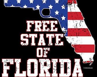 Free State Of Florida Gun Flag Shirt