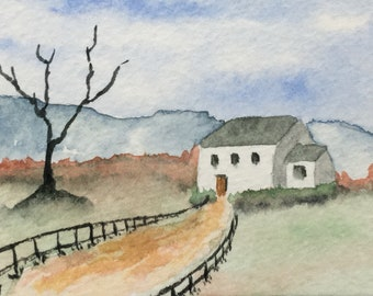 ACEO watercolour painting of white cottage