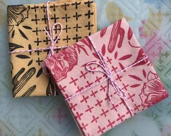 block printed mountain bike michigan made bandana Pink hand-dyed cotton bandana handmade bandana
