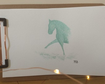 Metallic Watercolour Dressage Horse Original
