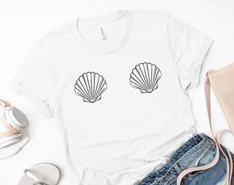 a25dcbecff588 Mermaid Shell boobs Shirt