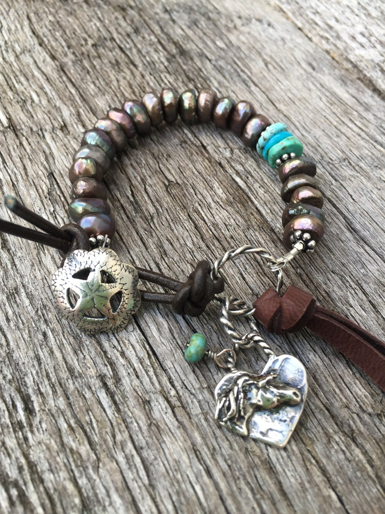 Mexican Turquoise Leather toggle Artisan horse charm Peacock Coffee Pearl Bracelet Artisan Western Star Button