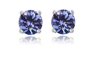 Silver .925 Genuine Tanzanite Stud Earrings