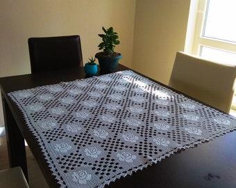 handmade, crochet runner, table runner, square