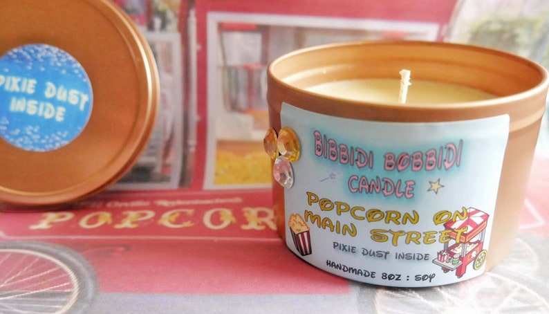 Popcorn of Main Street 8 oz or 14oz Silver or Rose Gold Candle Tin , Disney  Inspired Candle Magic Kingdom Cruelty free and vegan